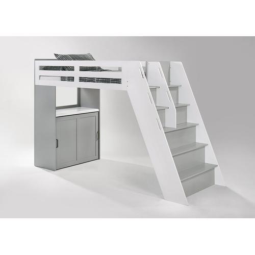 Galaxy Loft Bunk in Panels/Steps in Light Gray