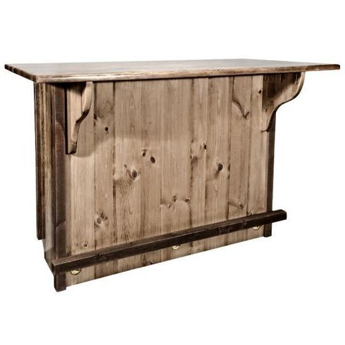 Homestead Collection Bar with Foot Rail, Stain and Lacquer Finish