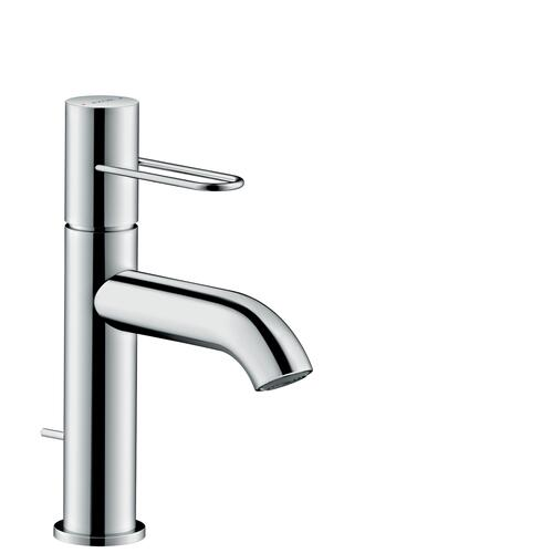 Polished Black Chrome Single lever basin mixer 100 with loop handle and pop-up waste set