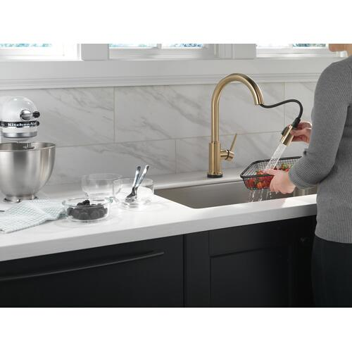 9159tvczdst In Champagne Bronze By Delta Faucet Company In Raleigh Nc Champagne Bronze Voiceiq Single Handle Pull Down Kitchen Faucet With Touch 2 O Technology