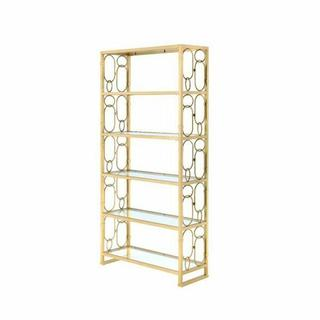 ACME Milavera Bookshelf - 92470 - Clear Glass & Gold