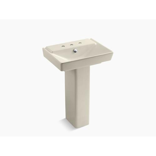 """Almond 23"""" Pedestal Bathroom Sink With 8"""" Widespread Faucet Holes"""