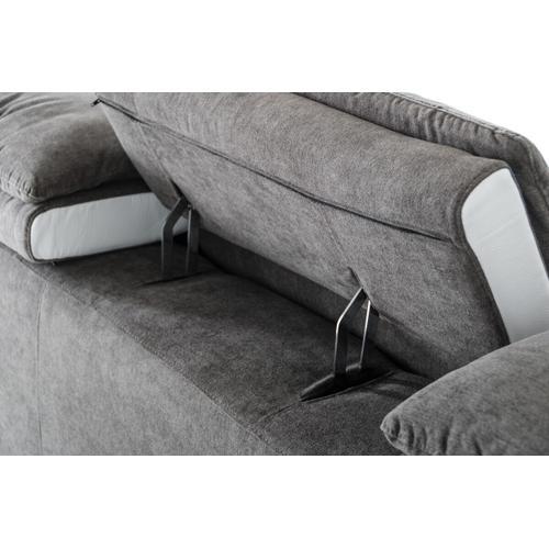 VIG Furniture - David Ferrari Starlight - Italian Modern Grey Fabric + White Leather Right Facing Sectional Sofa