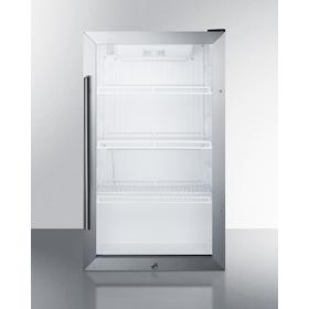Commercially Approved Outdoor Beverage Cooler for the Display and Refrigeration of Beverages and Sealed Food, Freestanding Use With Glass Door and Black Cabinet