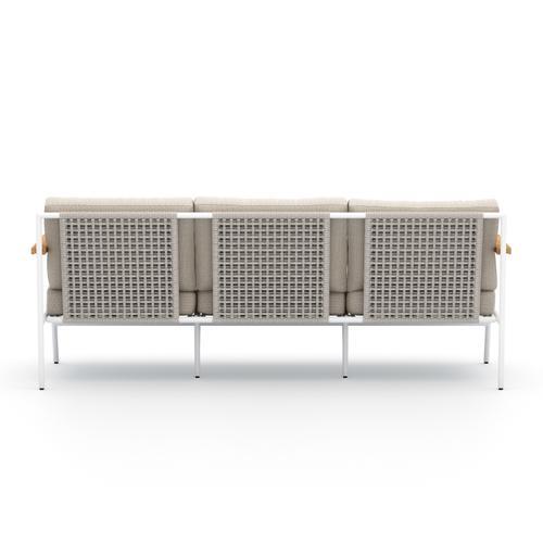 Faye Sand Cover Aroba Outdoor Sofa, White Aluminum