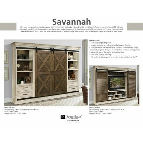 SAVANNAH 5 piece Sliding Shutter Door Entertainment Wall
