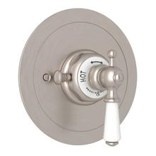 Edwardian Era Round Thermostatic Trim Plate without Volume Control - Satin Nickel with Metal Lever Handle