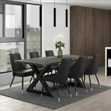 See Details - Zax/Silvano 7pc Dining Set, Black/Grey