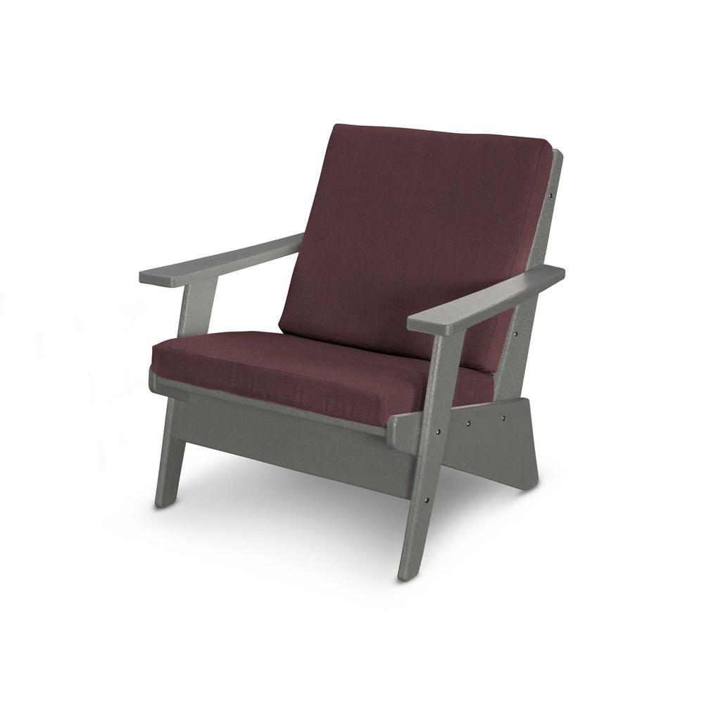 Slate Grey & Cast Currant Riviera Modern Lounge Chair