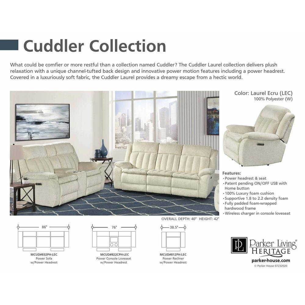 CUDDLER - LAUREL ECRU Power Sofa