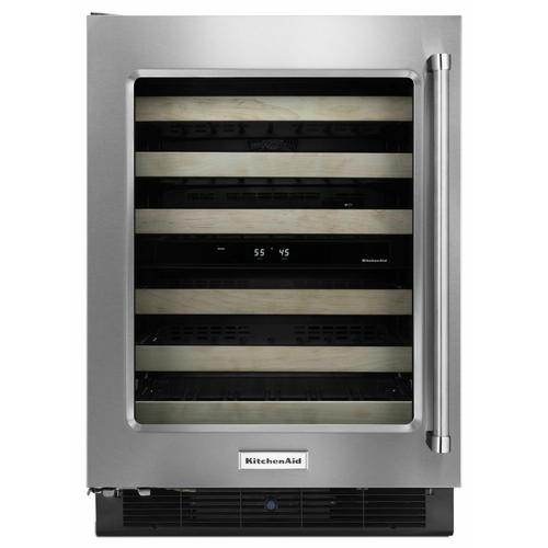 """KitchenAid - 24"""" Wine Cellar with Glass Door and Wood-Front Racks - Stainless Steel"""