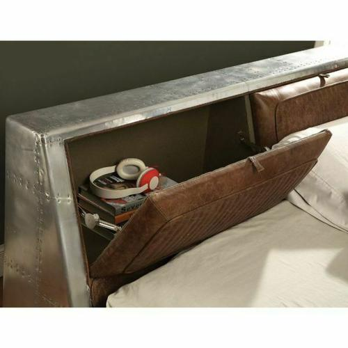 ACME Brancaster Queen Bed w/Storage - 26220Q - Retro Brown Top Grain Leather & Aluminum