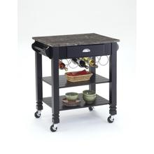 See Details - Black Faux Marble Top Kitchen Island