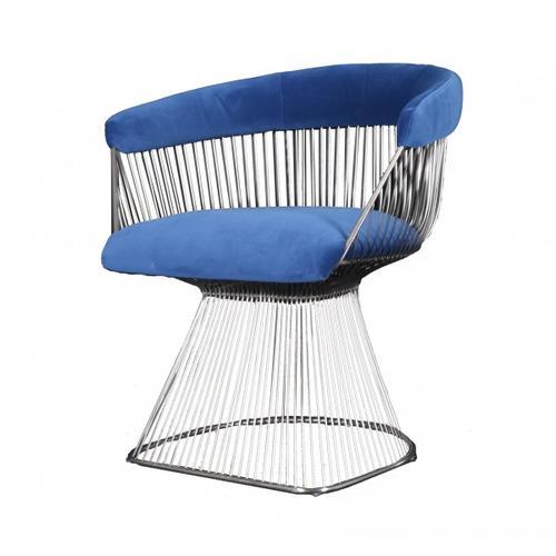 VIG Furniture - Modrest Lauren - Blue Velvet and Brushed Gold Dining Chair