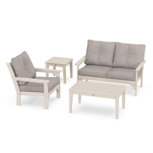 Vineyard 4-Piece Deep Seating Set in Sand / Weathered Tweed