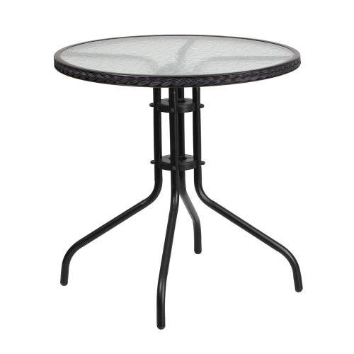 28'' Round Tempered Glass Metal Table with Black Rattan Edging