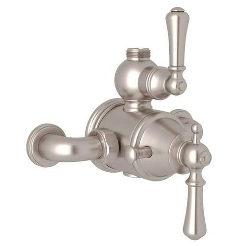 Georgian Era Exposed Thermostatic Valve with Volume and Temperature Control - Satin Nickel with Metal Lever Handle