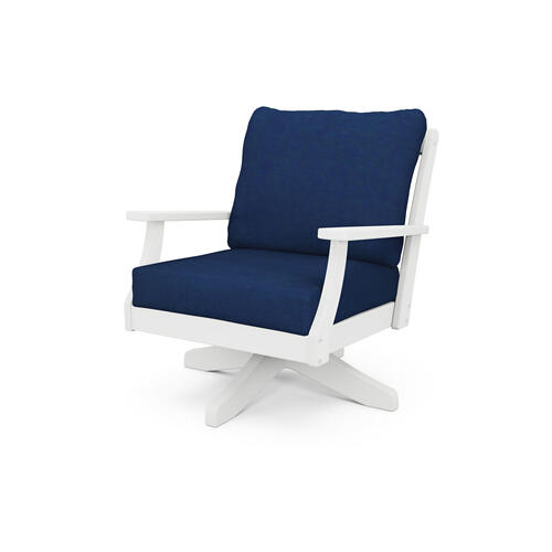 White & Navy Braxton Deep Seating Swivel Chair