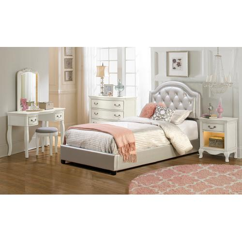 Karley Complete Twin-size Bed, Silver Faux Leather