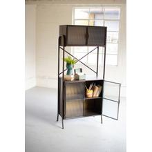 See Details - metal shelving unit with corrugated glass doors