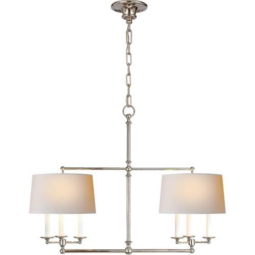 E. F. Chapman Classic 6 Light 42 inch Polished Nickel Linear Pendant Ceiling Light