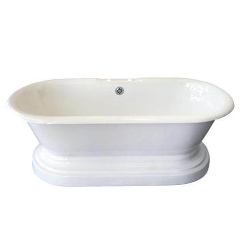 "Duet 67"" Cast Iron Double Roll Top Tub on Base - 7"" Rim Holes"