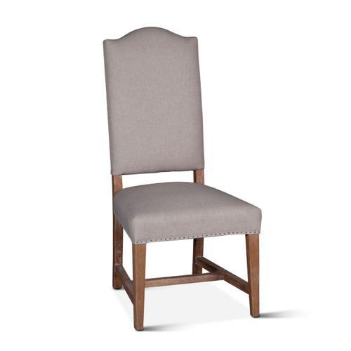 Stella Camelback Dining Chair Natural Linen Antique Oak Finish