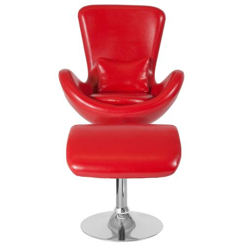 Alamont Furniture - Red Leather Side Reception Chair with Ottoman