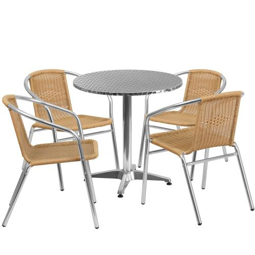 27.5'' Round Aluminum Indoor-Outdoor Table Set with 4 Beige Rattan Chairs