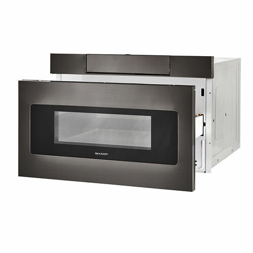 Sharp - 24 in. 1.2 cu. ft. 950W Sharp Black Stainless Steel Microwave Drawer Oven