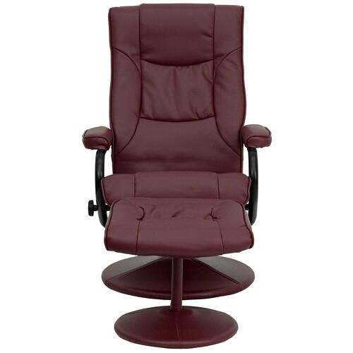 Alamont Furniture - Contemporary Burgundy Leather Recliner and Ottoman with Leather Wrapped Base