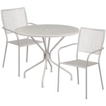 35.25'' Round Light Gray Indoor-Outdoor Steel Patio Table Set with 2 Square Back Chairs