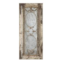 """Product Image - 22""""L x 51""""H Wood Framed Antiqued Mirror w/ Metal Accents, Heavily Distressed Finish"""