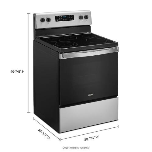 """Whirlpool 30"""" 5.3CF Stanless Steel Electric range with Frozen Bake technology."""