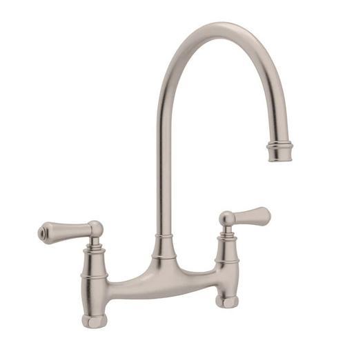 Georgian Era Bridge Kitchen Faucet - Satin Nickel with Metal Lever Handle
