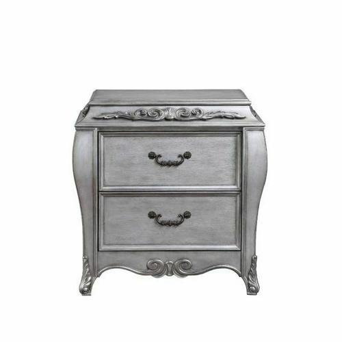 ACME Leonora Nightstand - 22143 - Glam - Wood (Poplar), Wood Veneer (Ash), Poly-Resin, MDF - Vintage Platinum