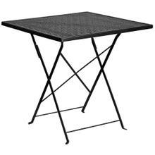 28'' Square Black Indoor-Outdoor Steel Folding Patio Table