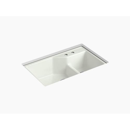 """Dune 33"""" X 21-1/8"""" X 9-3/4"""" Smart Divide Undermount Large/small Double-bowl Workstation Kitchen Sink With 2 Faucet Holes"""