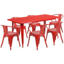 31.5'' x 63'' Rectangular Red Metal Indoor-Outdoor Table Set with 6 Arm Chairs