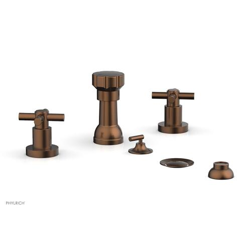 BASIC Four Hole Bidet Set - Tubular Cross Handles D4134 - Antique Copper