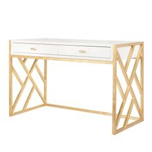 White Lacquer Desk With Gold Leaf Lattice Base
