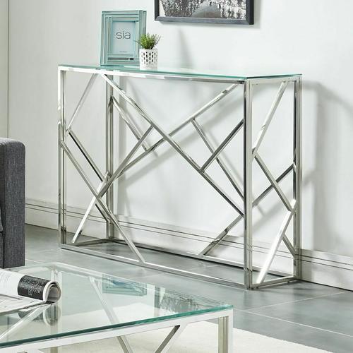 Worldwide Homefurnishings - Juniper Console Table in Silver