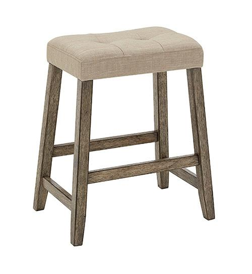 Upholstered Counter Stool- 2/CTN - Smokey Oak Finish