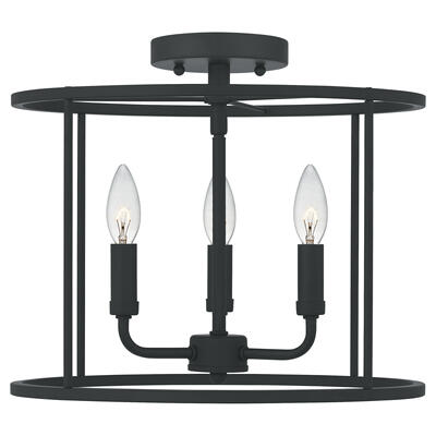 Abner Semi-Flush Mount in Matte Black