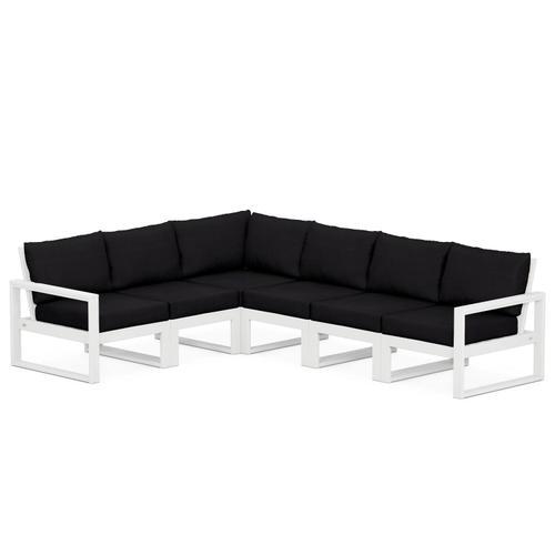 Polywood Furnishings - EDGE 6-Piece Modular Deep Seating Set in White / Midnight Linen