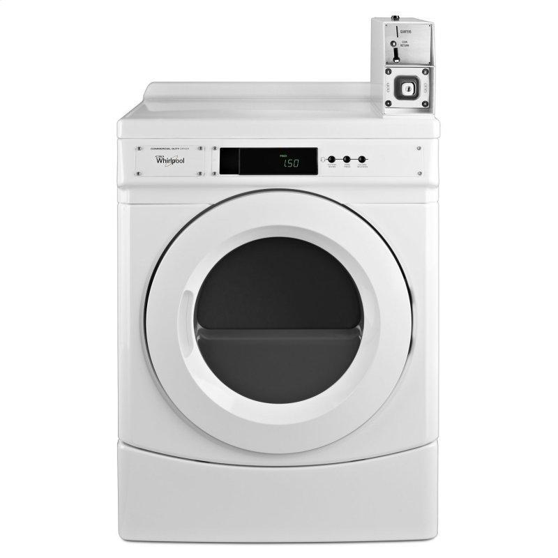 """27"""" Commercial Gas Front-Load Dryer Featuring Factory-Installed Coin Drop with Coin Box White"""