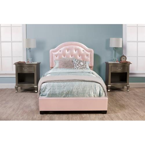 Karley Complete Twin-size Bed, Pink Faux Leather