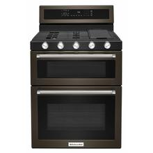 View Product - 30-Inch 5 Burner Gas Double Oven Convection Range - Black Stainless Steel with PrintShield™ Finish