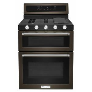30-Inch 5 Burner Gas Double Oven Convection Range - Black Stainless Steel with PrintShield™ Finish Product Image