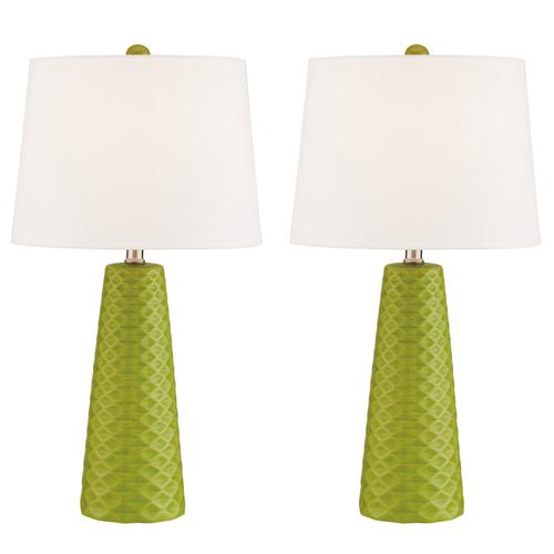 Lite Source - 2 Pack-table Lamp, Green Ceramic/white Linen, E27 A 100wx2